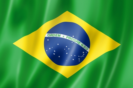 green flag: Brazil flag, three dimensional render, satin texture