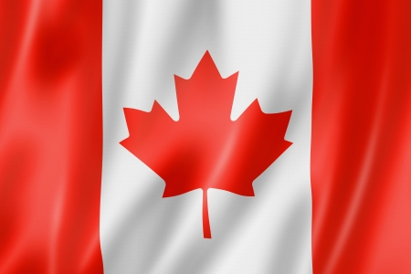 quebec: Canada flag, three dimensional render, satin texture Stock Photo