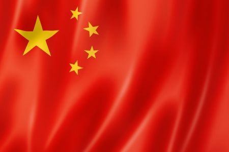 China flag, three dimensional render, satin texture photo