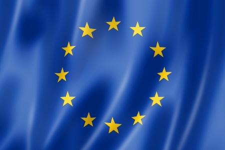 EU-vlag, driedimensionale render, satijnen structuur