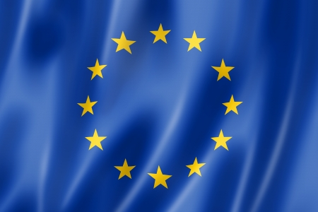 European union flag, three dimensional render, satin texture photo