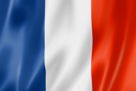 french flag: France flag, three dimensional render, satin texture