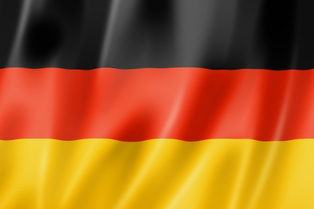 black flag: Germany flag, three dimensional render, satin texture