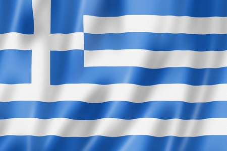Greece flag, three dimensional render, satin texture