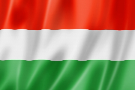 Hungary flag, three dimensional render, satin texture