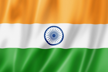 rippled: India flag, three dimensional render, satin texture Stock Photo