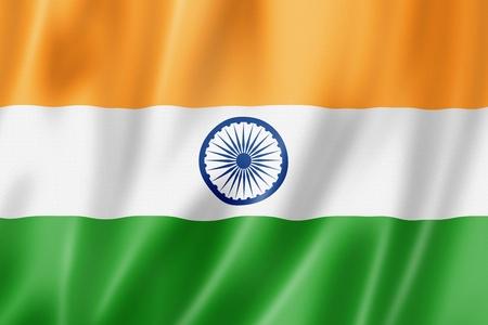green flag: India flag, three dimensional render, satin texture Stock Photo