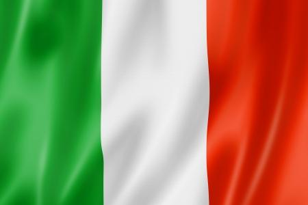 bandera italiana: Bandera de Italia, tres de representación tridimensional, textura satinada Foto de archivo