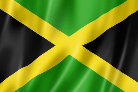 jamaican flag: Jamaica flag, three dimensional render, satin texture Stock Photo