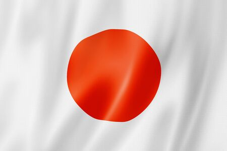 Japan flag, three dimensional render, satin texture photo
