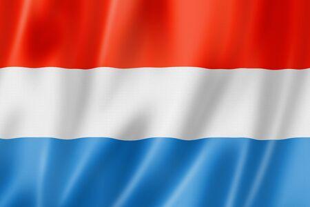 Luxemburgse vlag, driedimensionale render, satijnen structuur