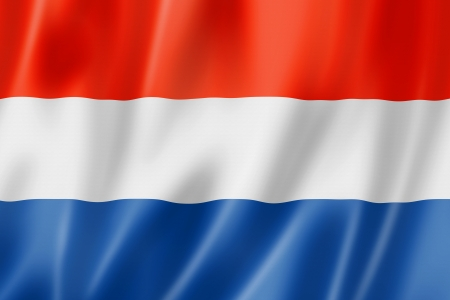 Netherlands flag, three dimensional render, satin texture