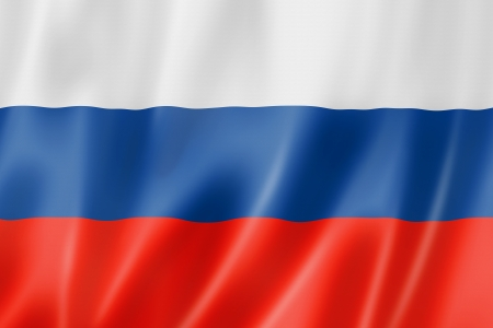 bandera rusia: Bandera de Rusia, tres de representación tridimensional, textura satinada