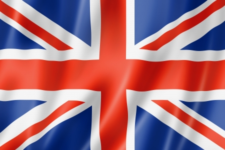 red flag: United Kingdom, UK flag, three dimensional render, satin texture