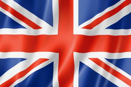 Verenigd Koninkrijk, Britse vlag, driedimensionale render, satijnen structuur