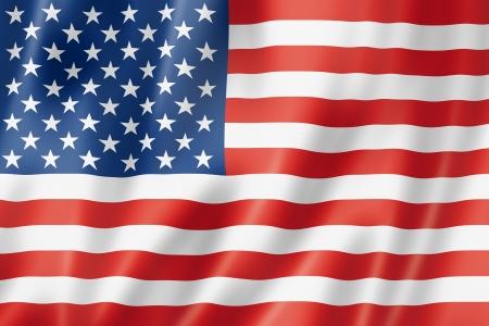 american flags: EE.UU. bandera, tres de representaci�n tridimensional, textura satinada