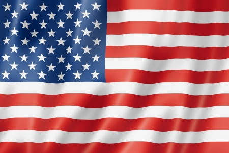 USA vlag, driedimensionale render, satijnen structuur Stockfoto
