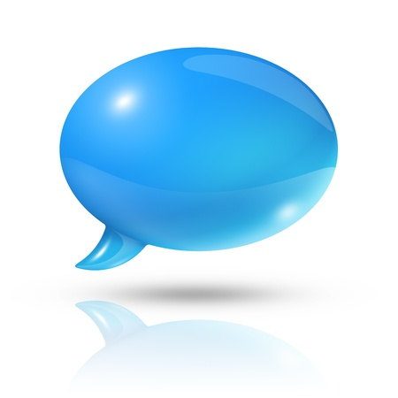 three dimensional blue speech bubble photo