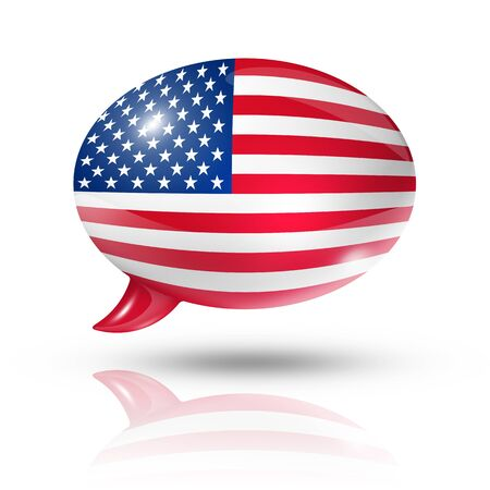 three dimensional USA flag in a speech bubble