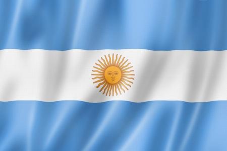 Argentinië vlag, driedimensionale render, satijnen structuur