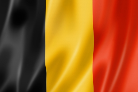 Belgium flag, three dimensional render, satin texture Stock fotó