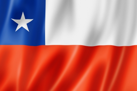 bandera chilena: Chile flag, tres de representación tridimensional, textura satinada Foto de archivo