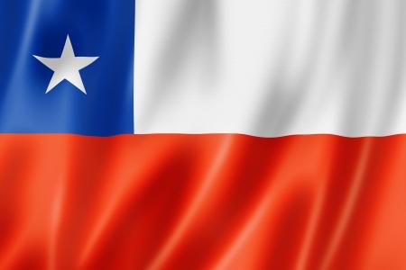 bandera chile: Chile flag, tres de representaci�n tridimensional, textura satinada Foto de archivo