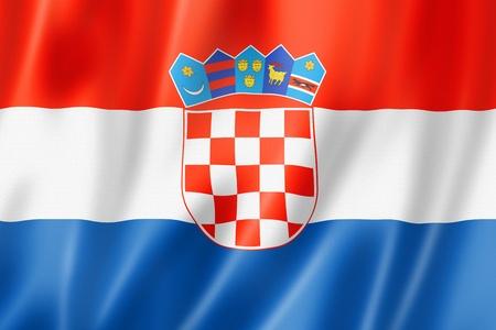 bandera de croacia: Croacia, la bandera, tres de representación tridimensional, textura satinada Foto de archivo