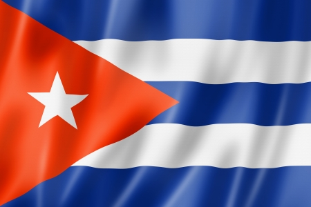 Cuba flag, three dimensional render, satin texture photo