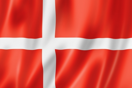 Denmark flag, three dimensional render, satin texture photo