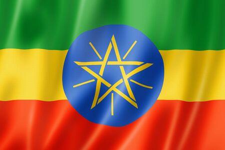 ethiopia: Ethiopia flag, three dimensional render, satin texture