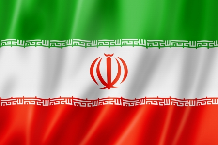 Iran flag, three dimensional render, satin texture photo