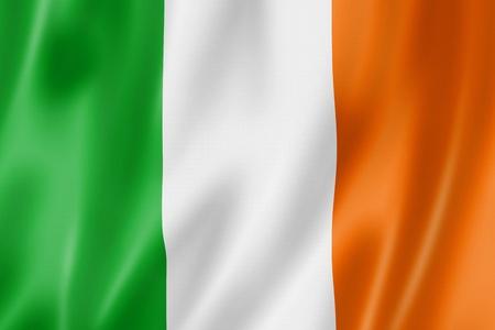 bandera de irlanda: Bandera de Irlanda, tres de representaci�n tridimensional, textura satinada Foto de archivo