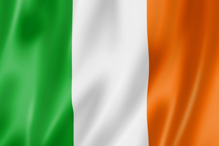 irish banners: Ireland flag, three dimensional render, satin texture