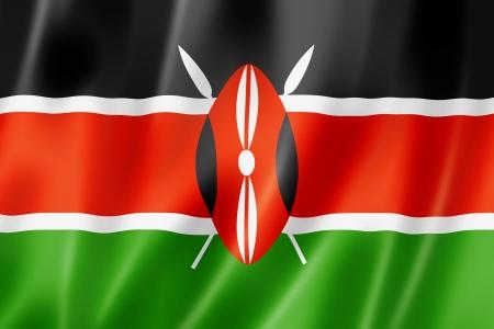 kenya: Kenya flag, three dimensional render, satin texture