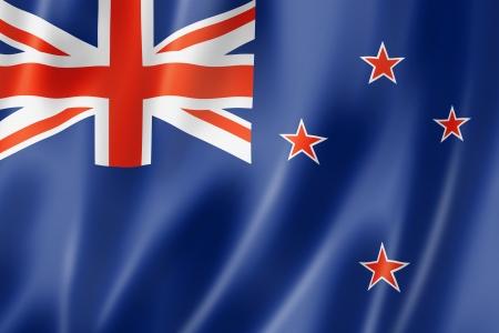 bandera de nueva zelanda: Bandera de Nueva Zelanda, tres de representaci�n tridimensional, textura satinada Foto de archivo