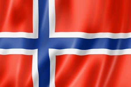 Noorwegen vlag, driedimensionale render, satijnen structuur