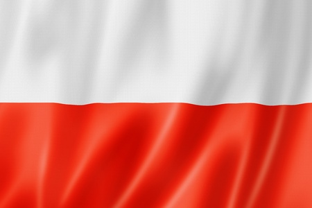 dimensional: Poland flag, three dimensional render, satin texture