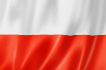 Polen vlag, driedimensionale render, satijnen structuur