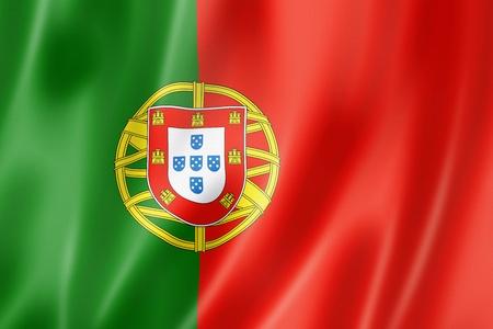 bandera de portugal: Bandera de Portugal, tres de representación tridimensional, textura satinada Foto de archivo