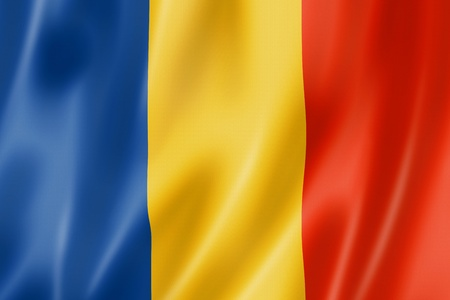 europe closeup: Romania flag, three dimensional render, satin texture Stock Photo