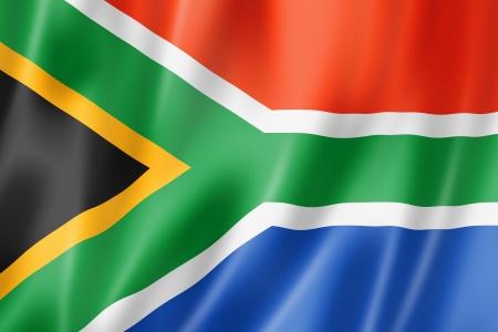 Zuid-Afrika vlag, driedimensionale render, satijnen structuur