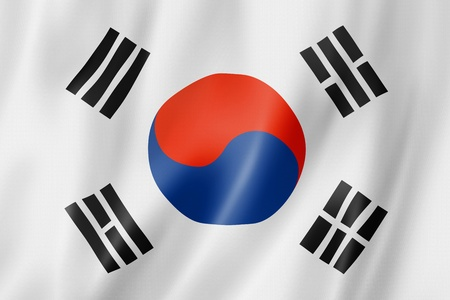 South Korea flag, three dimensional render, satin texture photo