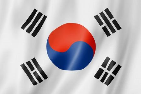 Zuid-Korea vlag, driedimensionale render, satijnen structuur