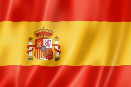 Spain flag, three dimensional render, satin texture