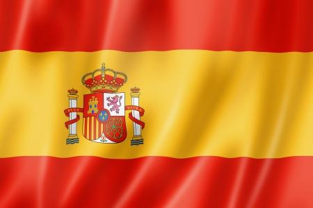 spanish flag: Spain flag, three dimensional render, satin texture