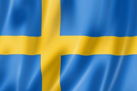 Zweden vlag, driedimensionale render, satijnen structuur Stockfoto