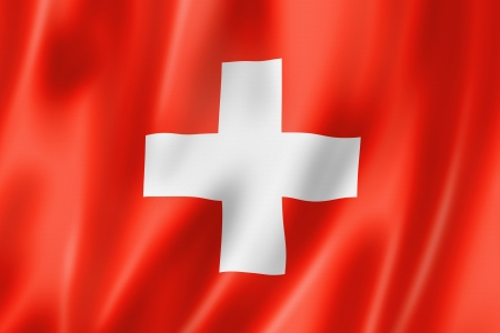 Switzerland flag, three dimensional render, satin texture photo