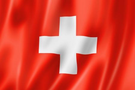 Zwitserland vlag, driedimensionale render, satijnen structuur