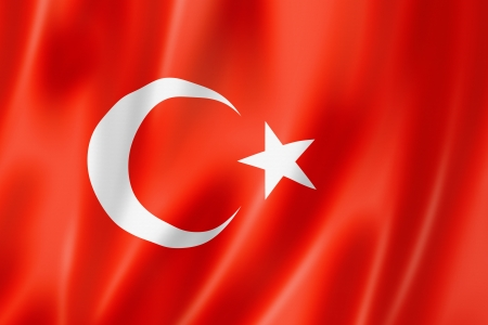 turkish flag: Turkey flag, three dimensional render, satin texture